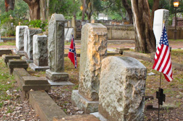 cemetery with civil war and American flags