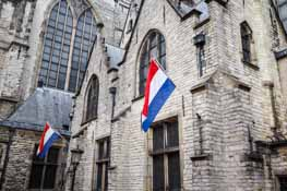 Dutch flags on building